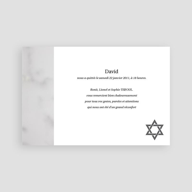 Carte Remerciement Décès Juif Matzevah - 1 pas cher