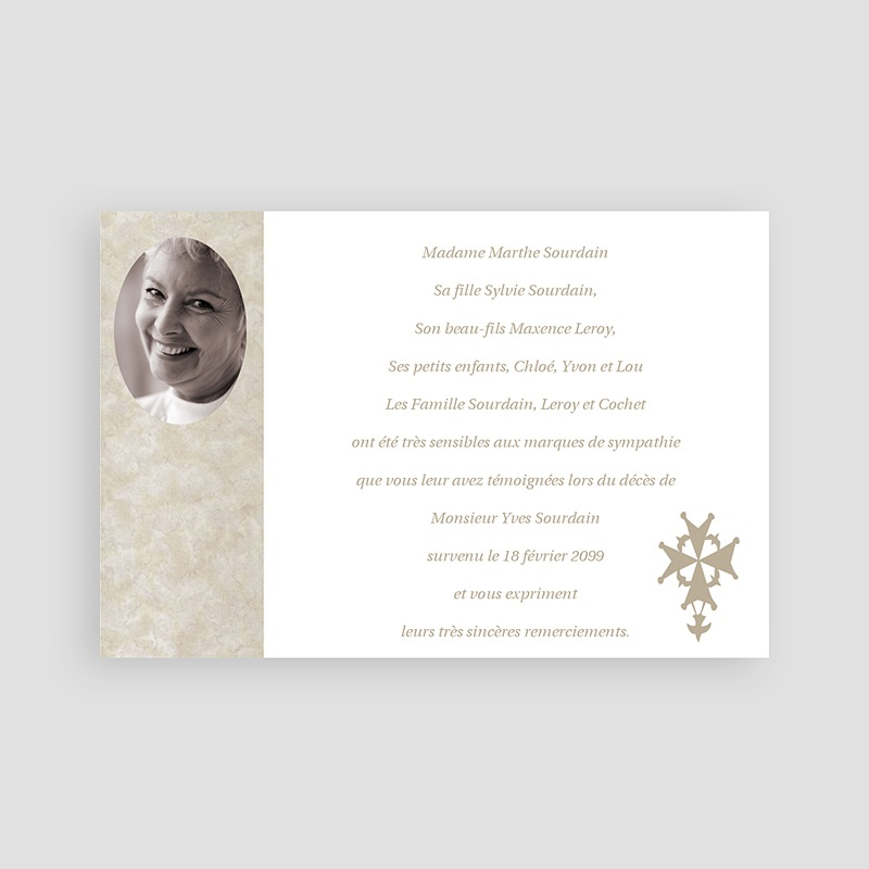 Carte remerciement décès chrétien Salut protestant - carte du souvenir pas cher