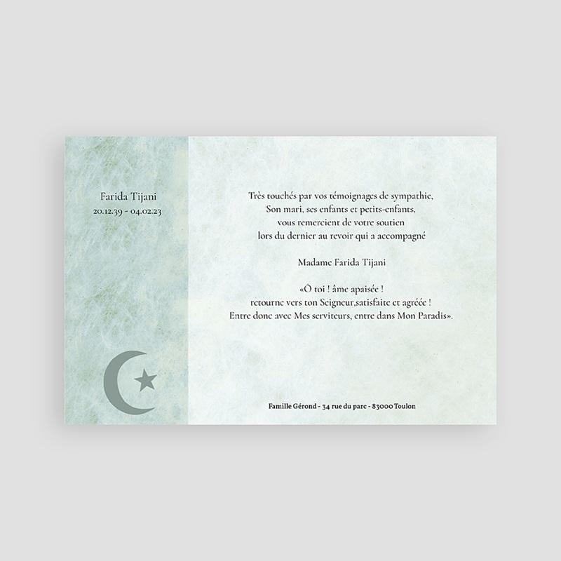 Carte Remerciement Décès Musulman Hommage Croissant fond vert pas cher