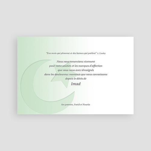 Carte Remerciement Décès Musulman Shâhâda Vert Pâle pas cher