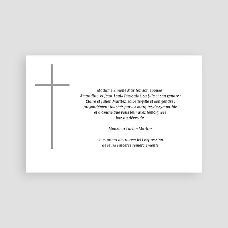 Carte Remerciement Décès Chrétien Croix grise pas cher