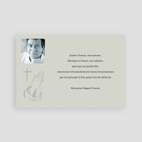 Remerciements Décès Chrétien - Priez pour son salut - Gris 65885 thumb