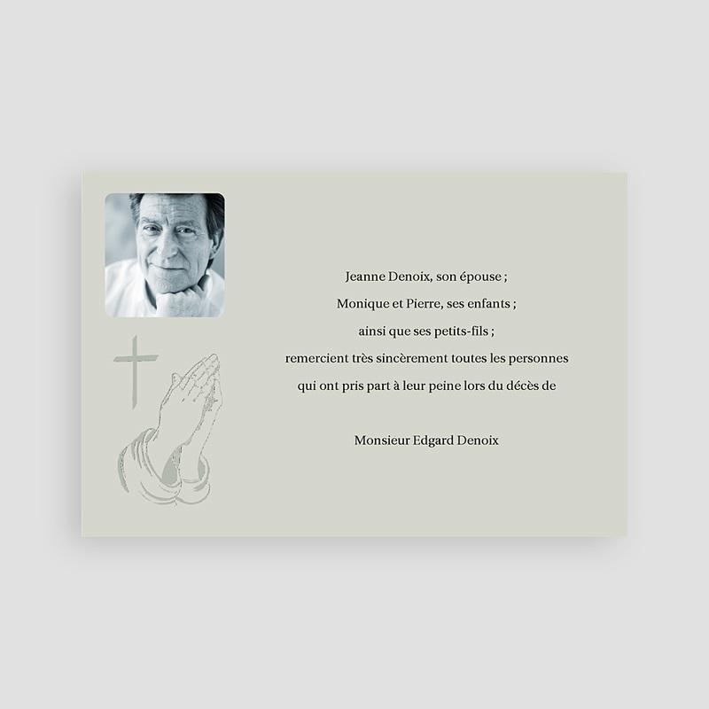 Carte remerciement décès chrétien Priez pour son salut - Gris pas cher