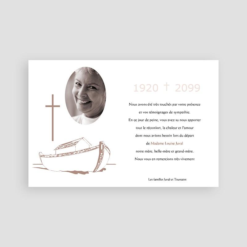 Carte Remerciement Décès Chrétien Barque de la foi pas cher