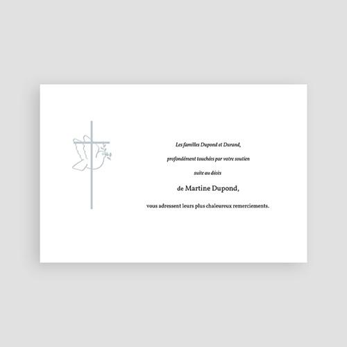 Carte Remerciement Décès Chrétien Colombe - cadre gris pas cher