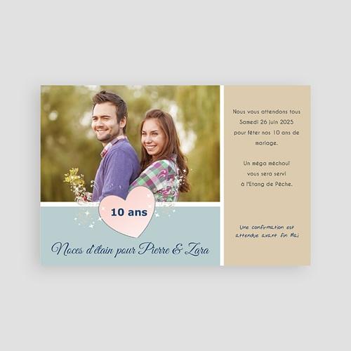 Carte invitation anniversaire mariage Noces d'étain - 10 ans  pas cher