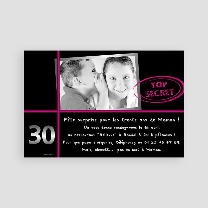Invitation Anniversaire Adulte - Anniversaire Top secret 65966 thumb