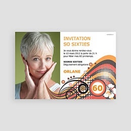 Carte invitation anniversaire adulte So Sixties