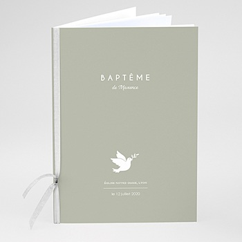 Livret de messe baptême - Colombe blanche fond olive - 0
