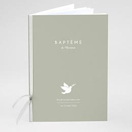 Livret messe baptême Colombe blanche fond olive