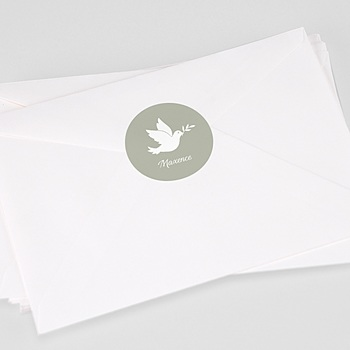 Étiquette autocollante baptême - Colombe blanche - 0