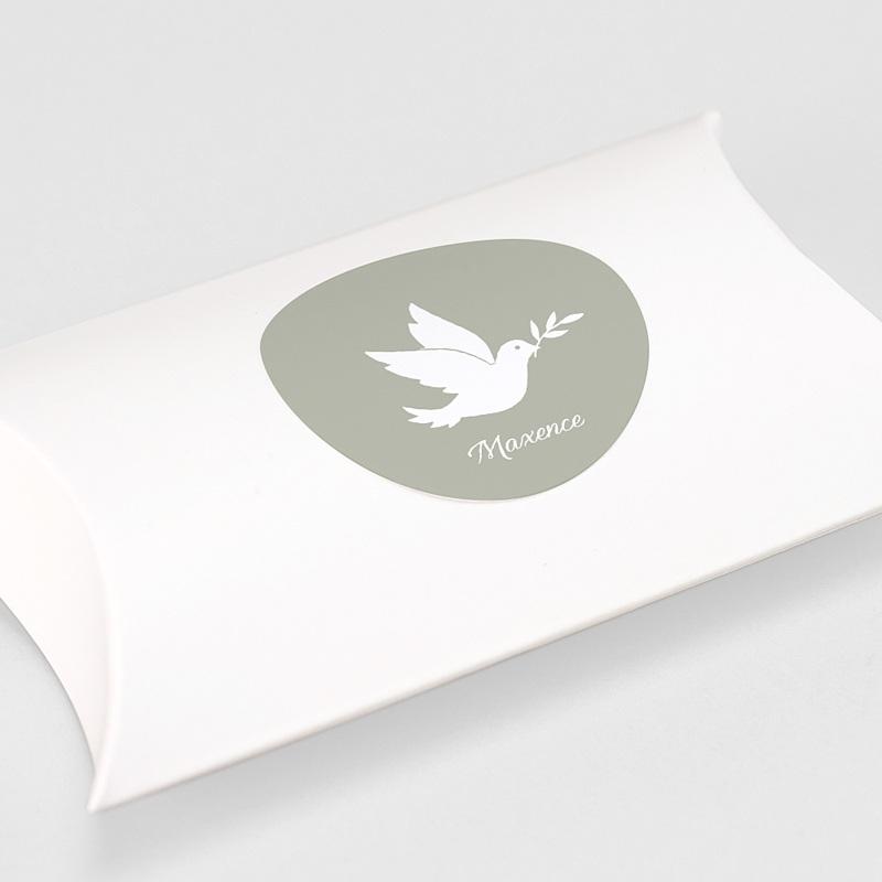 Etiquette Autocollante Baptême Colombe blanche gratuit