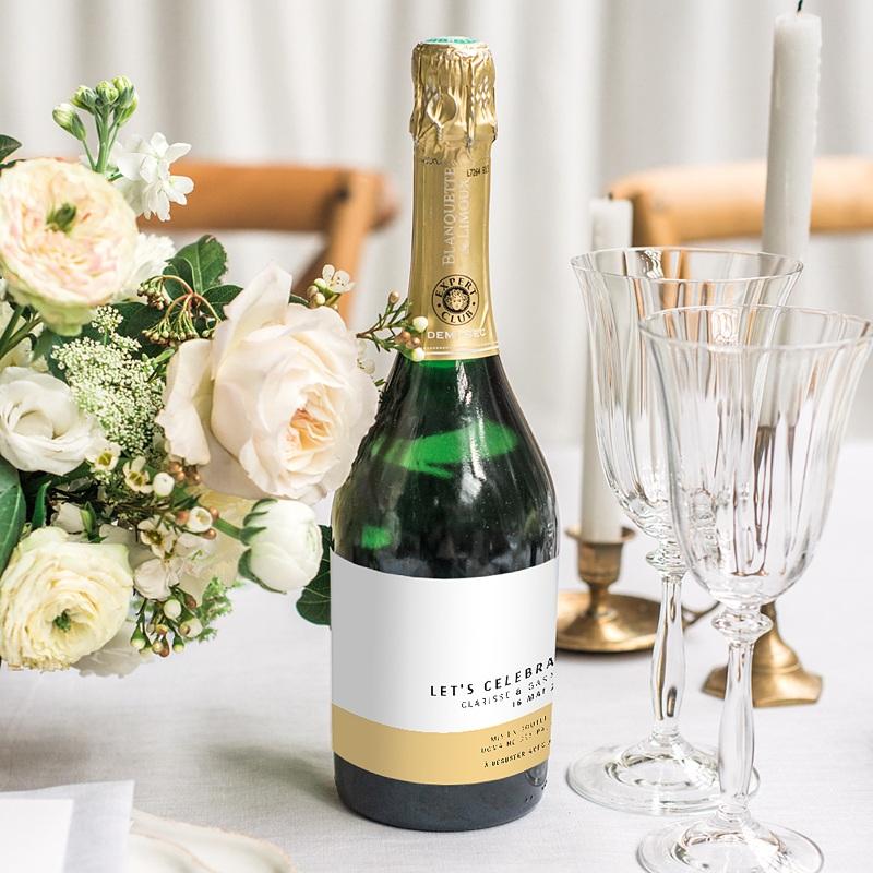Etiquette bouteille mariage Jaune Estival gratuit