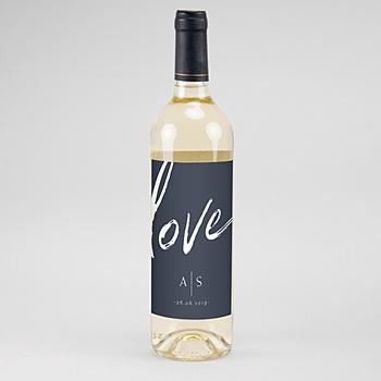 Étiquette bouteille mariage verticale - Love blue - 0