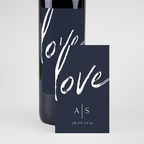 Étiquette bouteille mariage vin Love blue pas cher