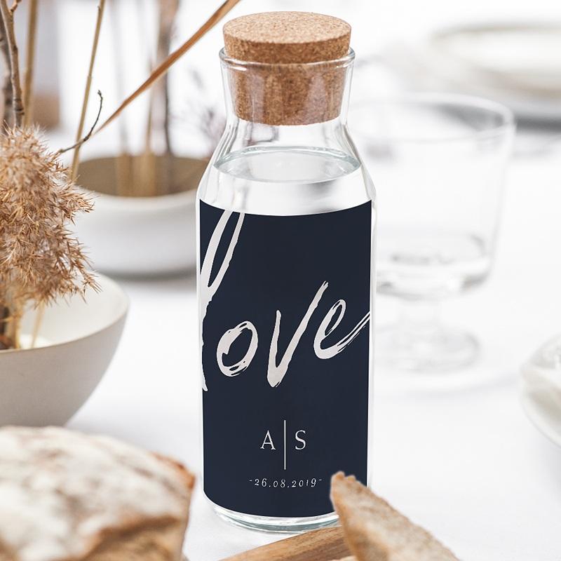 Étiquette bouteille mariage vin Love blue gratuit