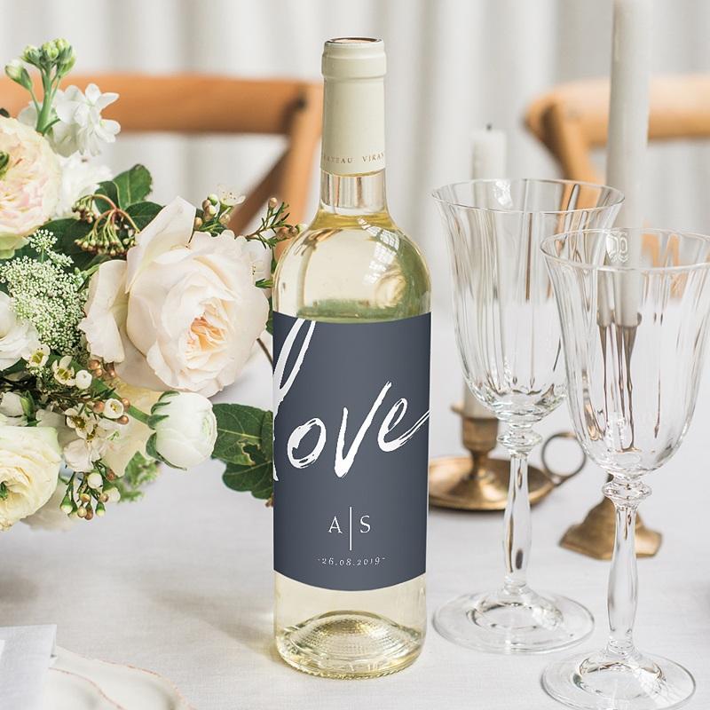 Étiquette bouteille mariage vin Love blue