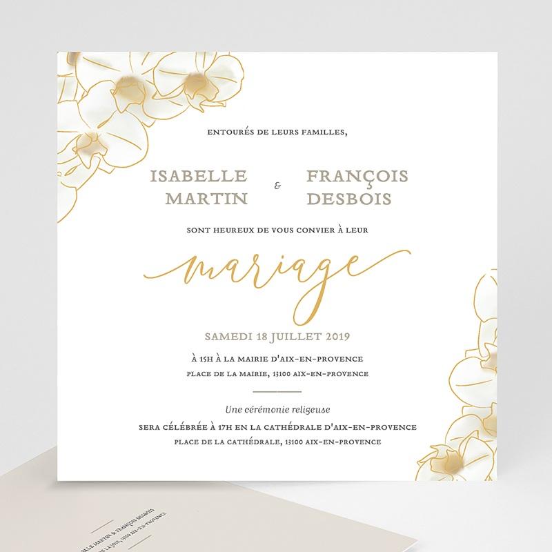 Faire-Part Mariage Traditionnel Orchidées Dorées