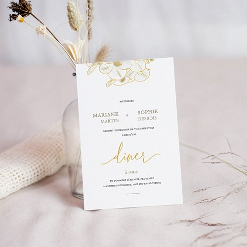 Carte Invitation Mariage Golden Orchids