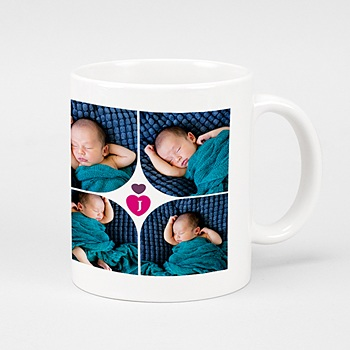 Mug Multi-photos Coeur Fushia