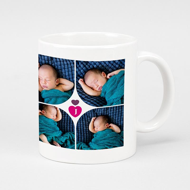 Mug Personnalisé Photo Multi-photos Coeur Fushia