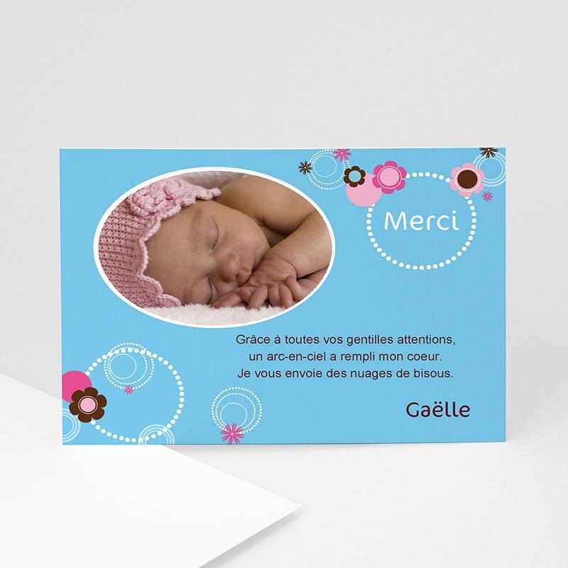 Carte Remerciement Baptême Garçon Joyeuse invitation - bleue