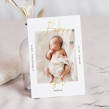 Faire part de naissance fille baby girl gold avec photo