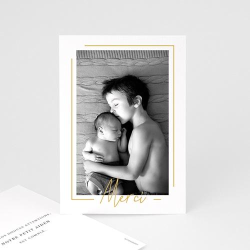 Carte remerciement naissance garçon Baby Boy Gold