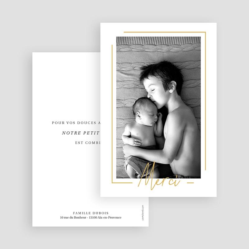 Carte remerciement naissance garçon Baby Boy Gold gratuit