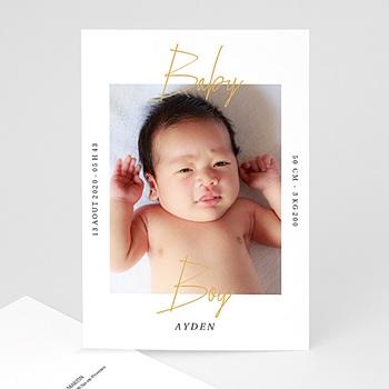Faire-Part Naissance Garçon - Baby Boy Gold - 0
