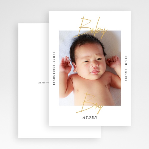 Faire-Part Naissance Garçon - Baby Boy Gold 66674 thumb