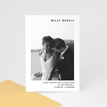 Carte remerciement mariage photo Jaune Estival