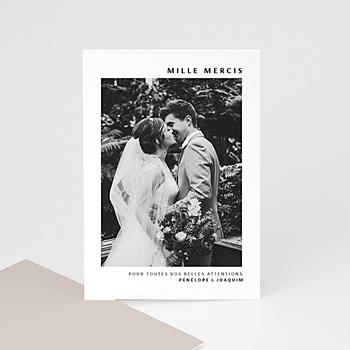 Carte remerciement mariage photo moka creme