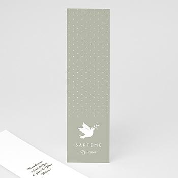 Marque-Page baptême - Colombe et vert olive - 0