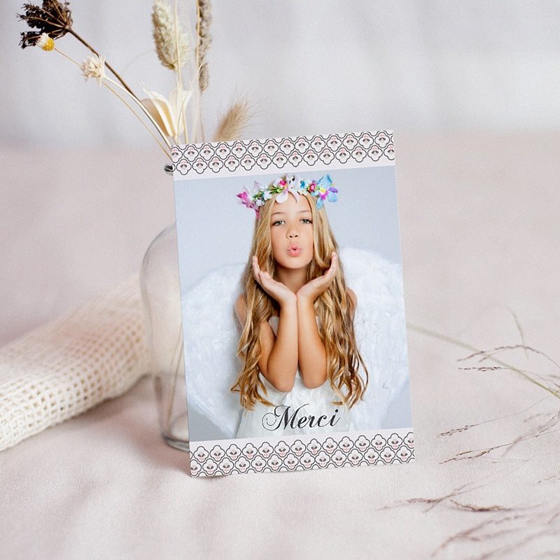 Carte Remerciement Communion Fille Fleur de Vie - Solennelle