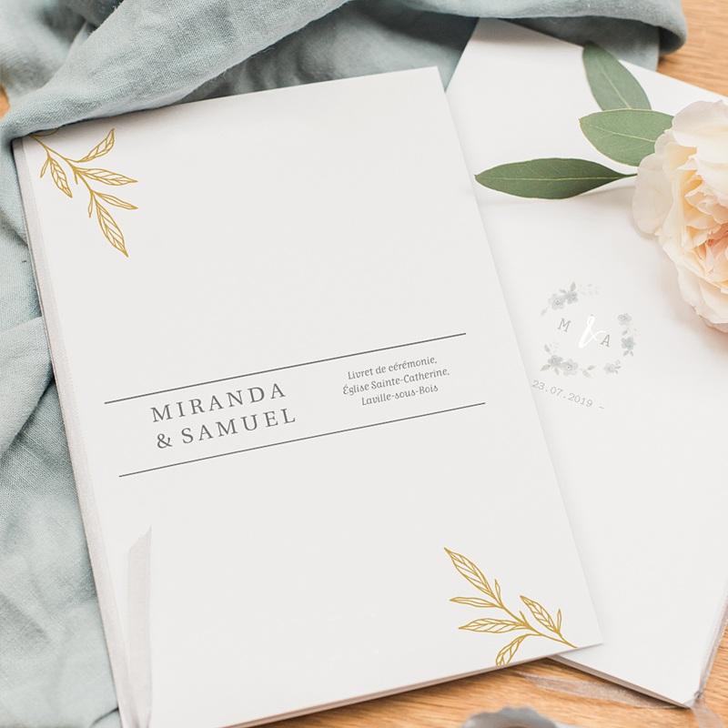 Livret messe mariage Botanique Minimaliste pas cher