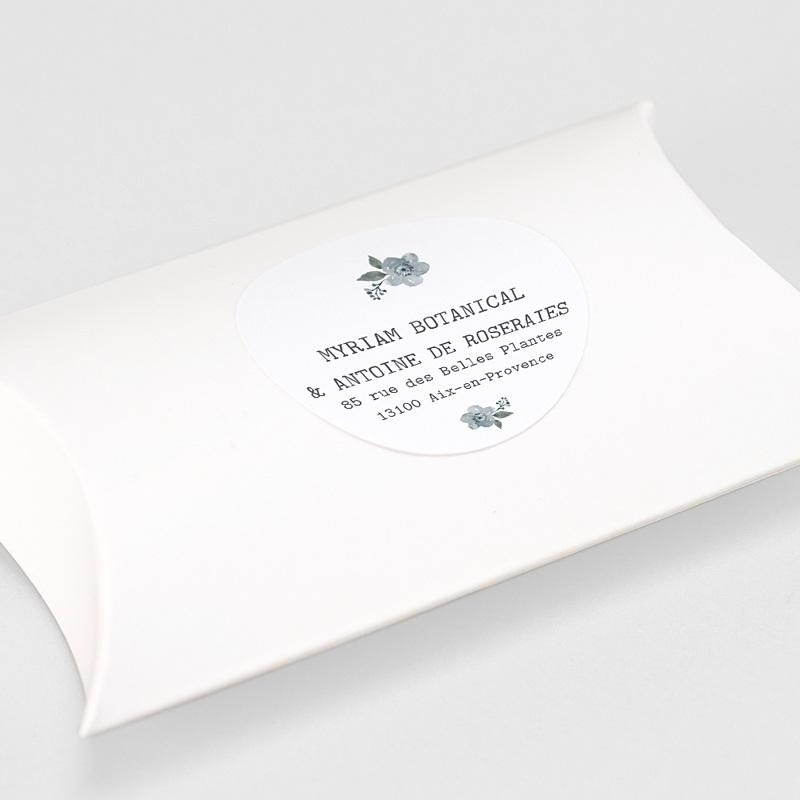 Etiquette Autocollante Mariage Bleu Botanique gratuit