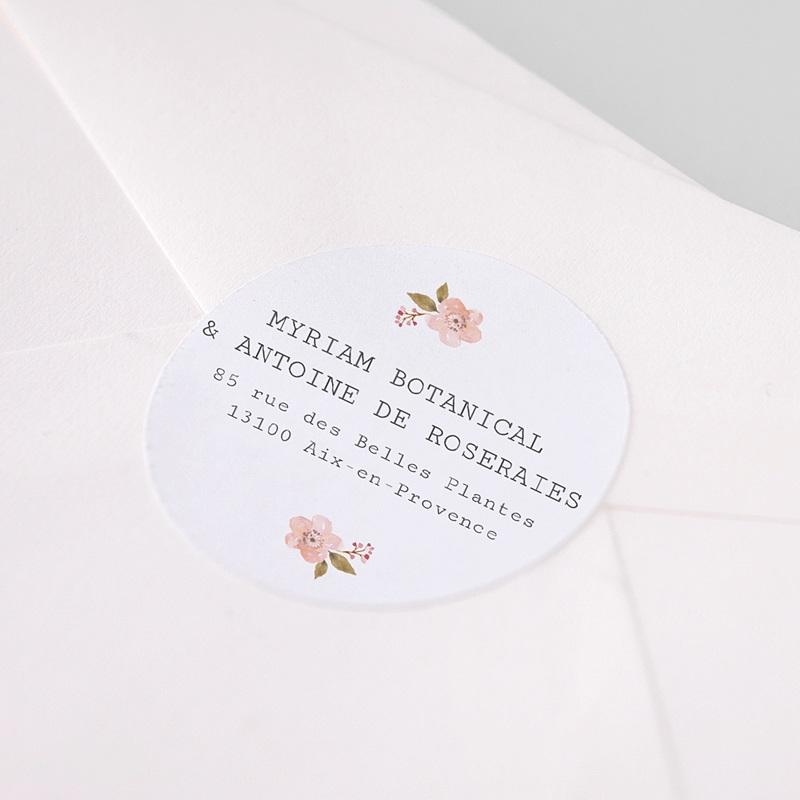 Etiquette Autocollante Mariage Rose Botanique pas cher