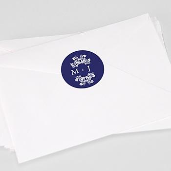 Étiquette autocollante mariage - Bleu Ottoman - 0
