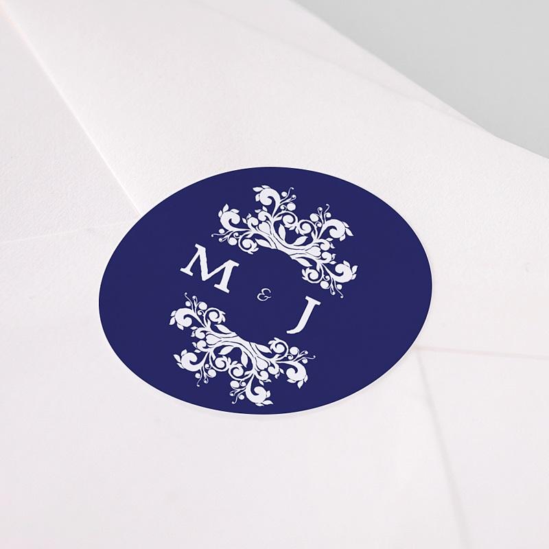 Etiquette Autocollante Mariage Bleu Ottoman pas cher