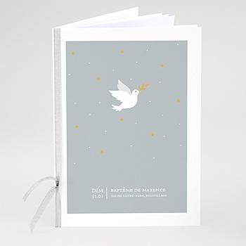 Livret messe baptême colombe grise sur mesure