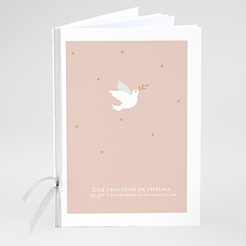 Livret messe baptême colombe rose pas cher