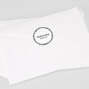 Étiquette autocollante baptême - Black Floral - 0