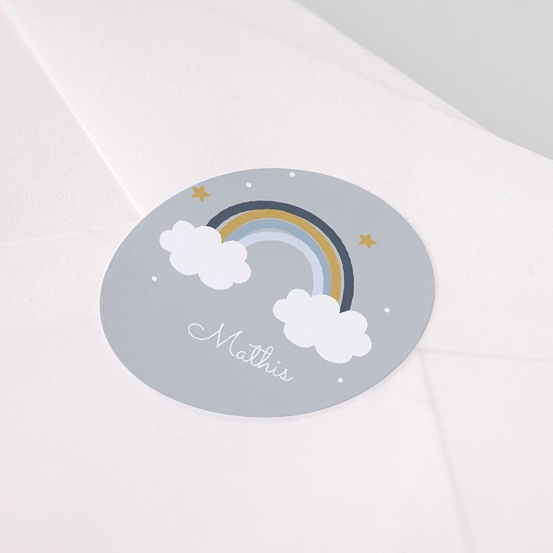 Etiquette Autocollante Baptême Rainbow & Clouds pas cher