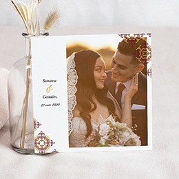 Carte remerciement mariage photo Rouge Ottoman