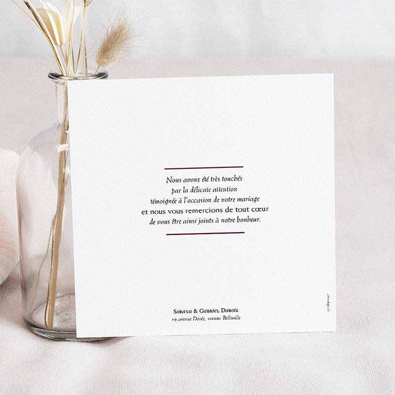 Carte Remerciement Mariage Photo Rouge Ottoman pas cher