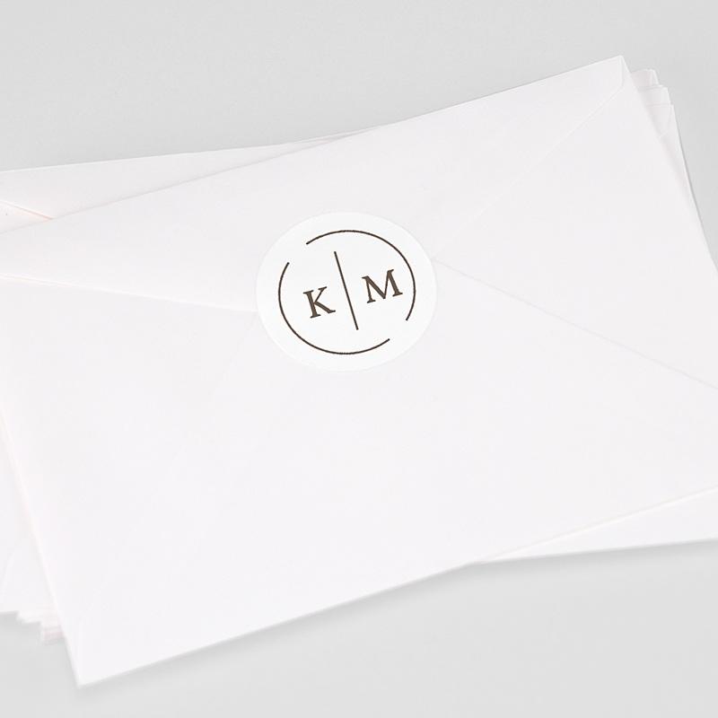 Etiquette Autocollante Mariage Initiales Modernes
