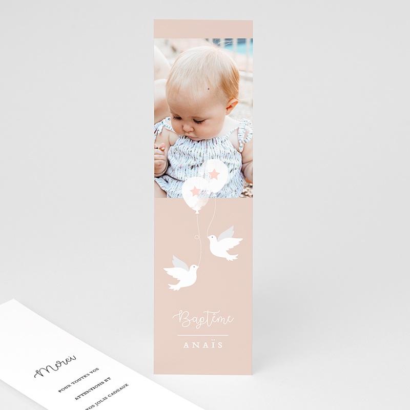 Carte Remerciement Baptême Fille Peacefully 2