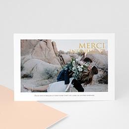 Carte remerciement mariage photo Tendance dorée