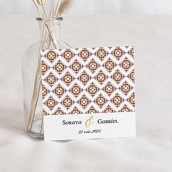 Save the date mariage rouge ottoman personnalisable